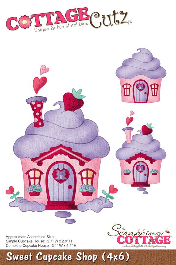 CottageCutz Sweet Cupcake Shop 4x6