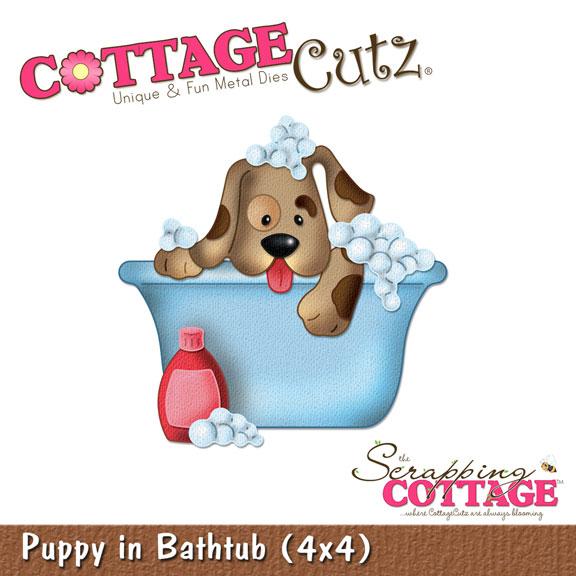 CottageCutz Puppy In Bathtub X RETIRED - 4x4 bathtub