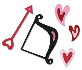 Sizzix Sizzlits Die Set 3PK, Cupid Bow & Arrow w/Hearts Set
